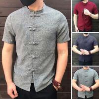 Retro Herren Kurzarm Shirts Bluse Mandarin Kragen Kung Fu Freizeit Fit Hemd Tops