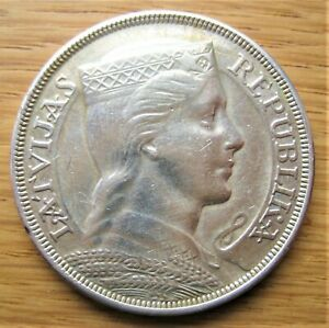 Lettland 5 Lati 1931, Silber