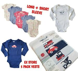 Baby Boys Vest Short Long Sleeve Sleeveless Vests Bodysuits 5 Pack 100% Cotton