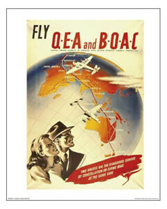 "Qantas Empire Airways-BOAC Poster – London Flights 1940s - 50 x 40 cm 20"" x 16"""