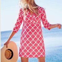 $110 Boden Moroccan Ikat Pink White 100% Linen 3/4 Long Sleeve Mini Dress | 4