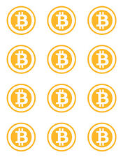 BITCOIN MIXED CUPCAKE TOPPERS 12 PER SHEET EDIBLE ICING DECORATION PRE-CUT IMAGE