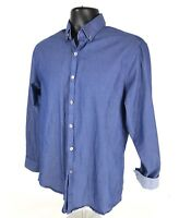 Kenneth Cole Reaction Shirt Mens 15.5 32-33 Blue Slim Fit DryTek Long Sleeve