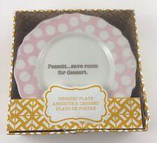 """Set of 4 Dessert Plates 6"""" Pink Polka Dots Gold """"Psst Save Room For Dessert"""""""