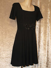 Little Black Dress with Pintuck Rose Bodice Formal Teenage Leavers Party Frock