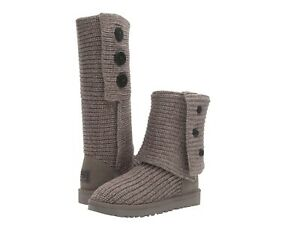 NEW UGG Women's Winter Classic Cardy Cuffable Button Knit Boots Black Grey