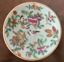 Chinese Porcelain Plate Celadon Famille Rose Butterfly Bird 19th c. Export 1820