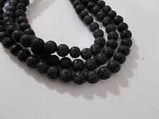 "47pcs 8mm NATURAL LAVA Black / Dark Grey Round Gemstone Stone Beads (15"" Strand)"