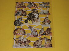 1x Poesiebilder Oblaten Katzen viele 407 Glanzbilder cats spielen putzen trinken