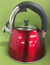 Mr Coffee Claredale 2.2 Qt Whistling Tea Kettle Red Stainless Steel C20
