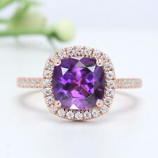 Purple Amethyst Cushion Stone Ring 10K 14K Solid Gold Engagement Gift Ring GN41