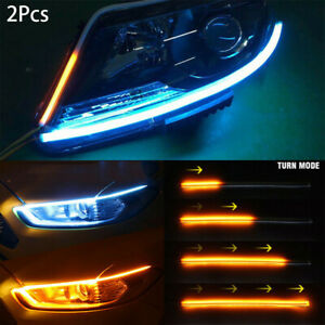 2PCS Sequential LED Strip Turn Signal Switchback Indicator Daytime Running Light