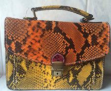 ebarrito Handtasche echt Leder Handarbeit Schlange Krokomuster bunt Luxus