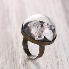 Fashion Jewelry Women Retro Bronze Conch Snail Sea Shell Grass Inside Ring Craft