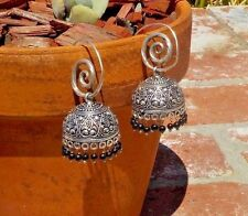 LADIES THAI SILVER & BLACK BEADED PIERCED EARRINGS THAILAND WITH FREE SHIPPING