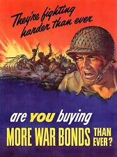 PROPAGANDA WAR BONDS AMERICA FIGHTING HARDER ART POSTER PRINT PICTURE LV7074
