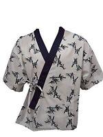 Sushi Chef Uniform- White Bamboo Print (Large Size)