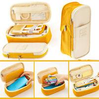 Large Capacity Zipper Pencil Case Pen Pouch Bag Student Canvas Stationery_x