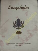Vintage Menu's Kungsholm Scandinavian Restaurant Chicago Sunday Dinner Menu