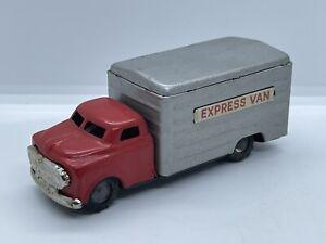 Vintage Japan SSS Shioji Express Van Delivery Box Truck Friction Toy Antique Vtg