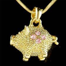 w Swarovski Crystal 3D Little Pink Pig Piggy Piglet Gold PL Pendant Necklace New