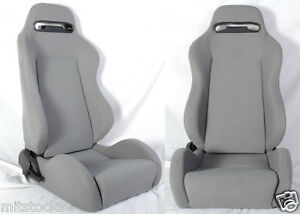 NEW 2 GRAY CLOTH RACING SEATS RECLINABLE + SLIDERS ALL BUICK **