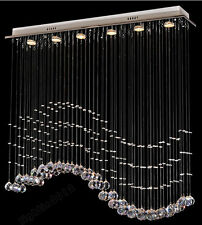 LED L80*W20*H80cm Pendant Light Ceiling Lamp Wave Crystal Chandelier Hanging Lin