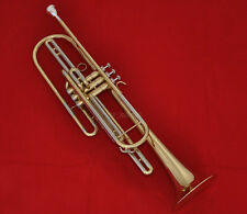 Professional Gold Brass Bass Trumpet Bb Key 3 Monel valves New Horn With Case
