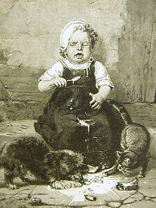 C. Boker BABY CRYING SPILLED MILK CAT & DOG Children 1887 Antique Print Matted
