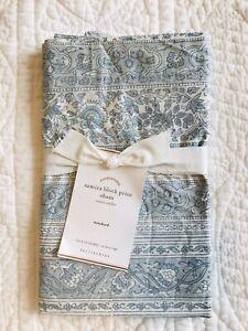 NWT Pottery Barn Samira Floral Block Print Std Pillow Sham ~ Blue Creamy White