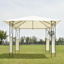 10'x10' Square Gazebo Canopy Tent Shelter Awning Garden Patio W/Beige Cover New