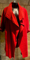 Made In Italy Lagenlook Ladies Italian Draped Wool Wraparound Coat Size 10-22