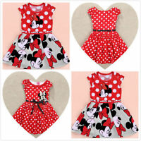 2 Minnie Mouse Princess Birthday Party Girls Dresses Red Dot Kids Clothing Gifts