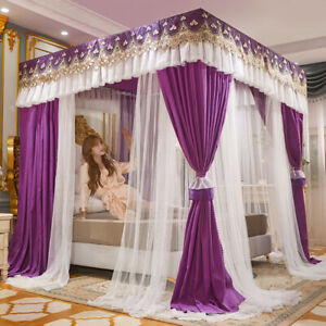 double layers mosquito net with bracket dust proof cloth + netting bed curtain