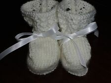 Baby Booties 'Lacey White' Hand Knitted