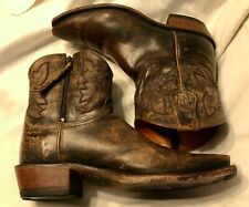 Lucchese Stonewashed Leather Short Brown Boots  (N8677), Size 8.5C