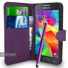 Purple Wallet Case PU Leather Book Cover For Samsung Galaxy Core Prime G360 G361