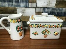 More details for rare quality vintage rayware ceramic bread bin & matching jug in good order