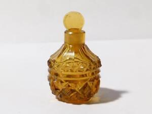 Antique c1890 Miniature Amber Cut Glass Scent Perfume Bottle Faceted Pattern