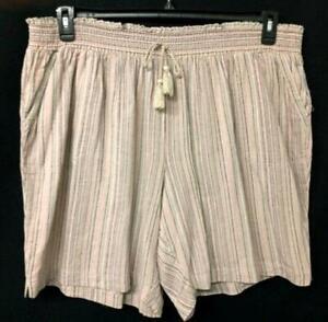 Cj banks beige multicolor striped pull on women's plus size linen blend short 3X