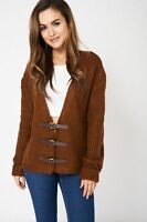 Vintage Couture Ladies Oversized cable knit Trendy buckle Cardigan sweater BNWT