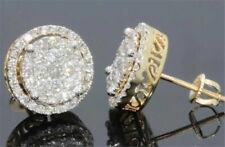 Stud Earrings for Men Women Jewelry 18K Gold Round Cube Aaa White Sapphire