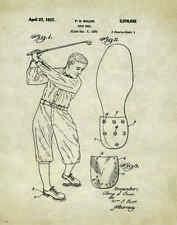 Golfing US Patent Poster Art Print Antique Golf Ball Clubs Shoes Tees Bag PAT123