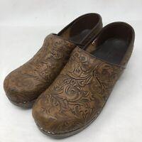 Sanita Women's Size 39/8.5 US Clogs Professional Leather Floral