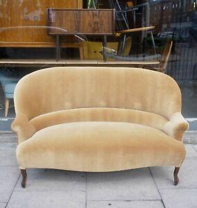 Antique French 19th century Napoleon III crapaud sofa recovered in velvet