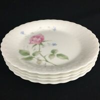 Set of 4 VTG Salad Plates by Mikasa Bone China April Rose A7053 Narumi Japan