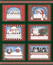 CHRISTMAS fabric panel quilt top BAH HUMBUG Fabric DOOR PANEL dogs cats cows NEW