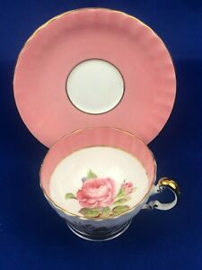 Aynsley Big Rose Floral Centre Pink Tea Cup & Saucer  Mint Condition