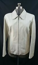 Tanners Avenue Women's White Lambskin Leather Bomber Jacket Size Large