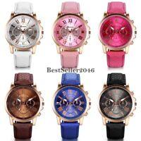 Women's Girls Roman Numerals Leather Strap Dress Analog Sport Quartz Wrist Watch